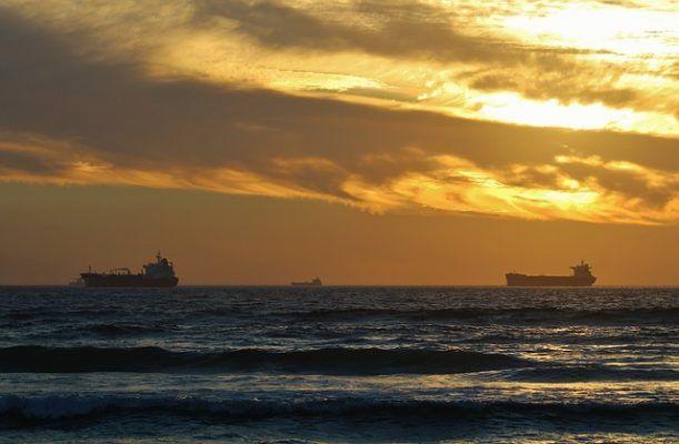 грузовое судно, море, пароход, закат