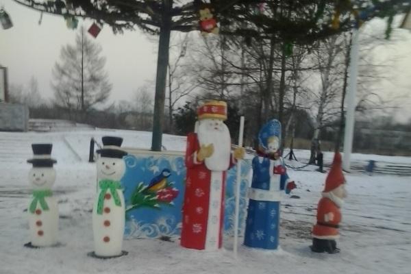 В Приморской колонии изготовили новогодние фигуры для украшения посёлка Заводской