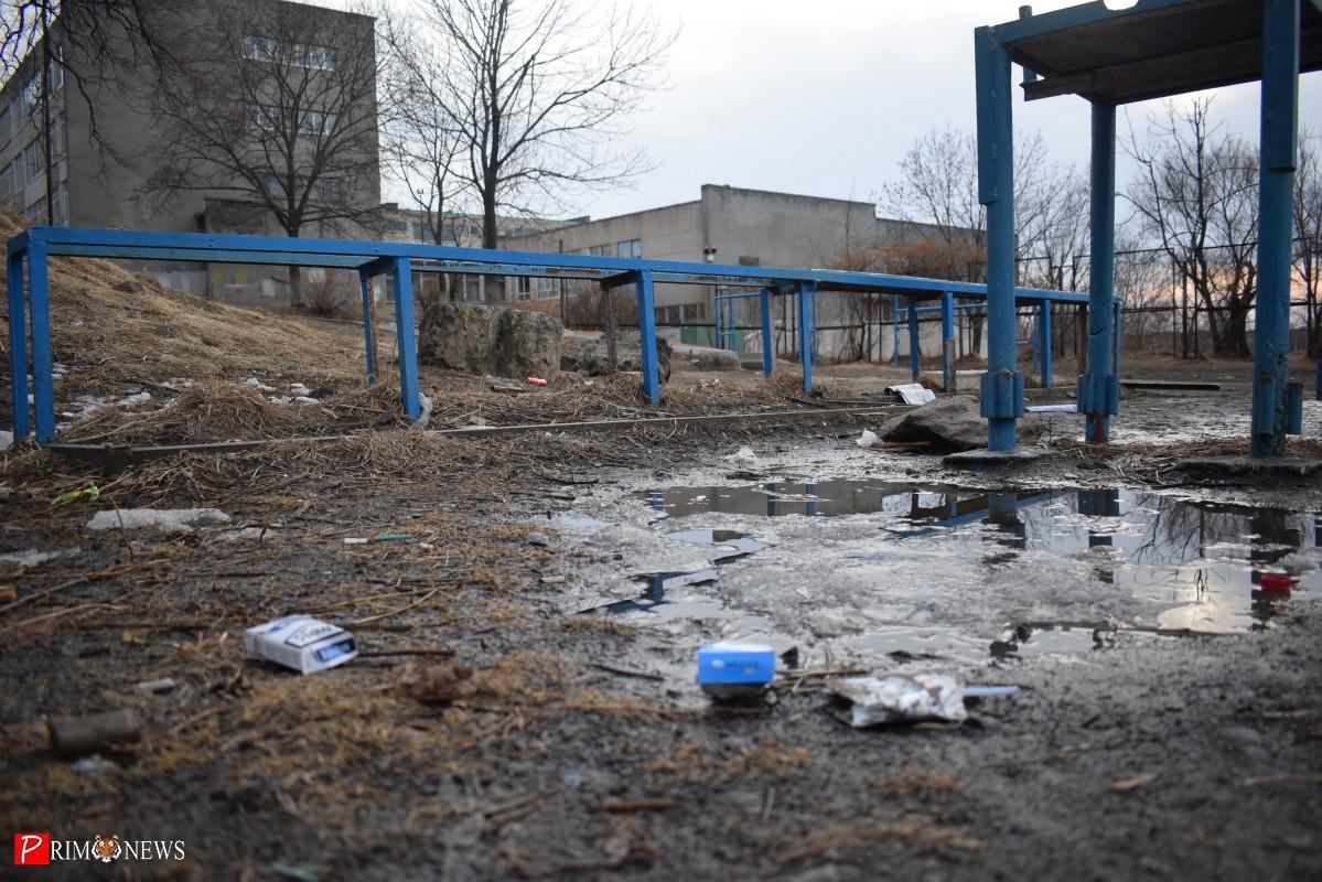 В грязное место для выгула собак превратилась территория у школы №58 во Владивостоке