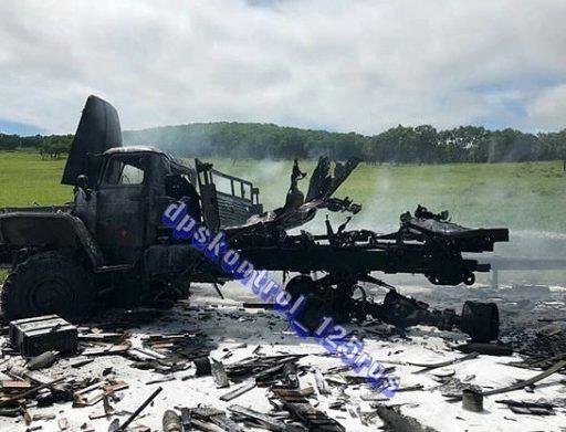 Грузовик с боеприпасами загорелся в Приморье