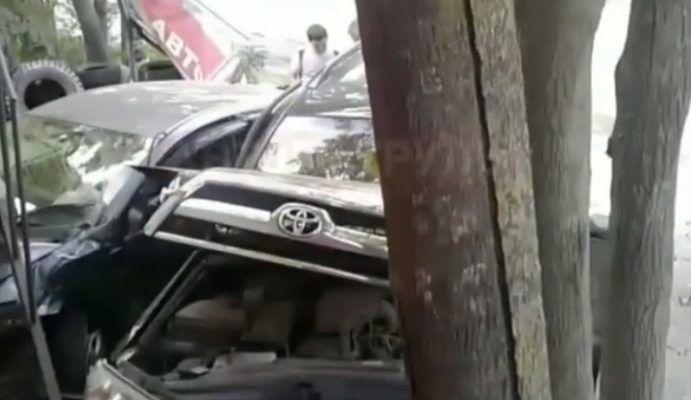 Необычное ДТП: во Владивостоке машина врезалась в дерево и оказалась под лестницей
