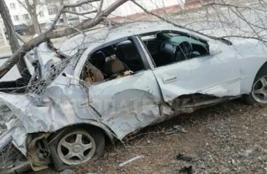 Груда металлолома: в Приморье автомобиль «намотало» на столб