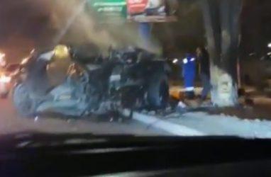 «От машины ничего не осталось»: шокирующее ДТП произошло в Приморье — видео