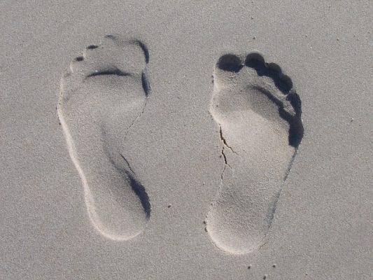 пляж, море, песок, следы, нога