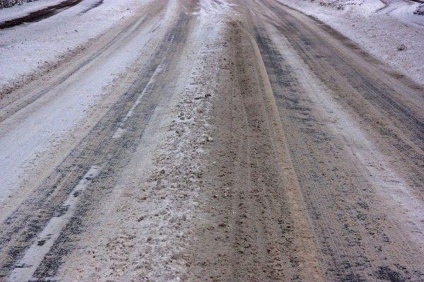 Снег, грязь, дорога, снегопад, зима