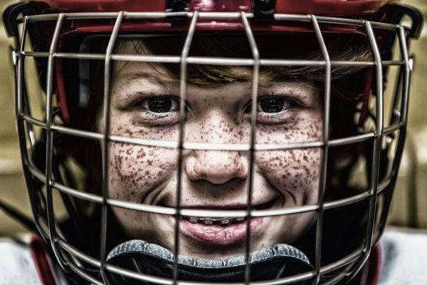 Шлем, хоккей, каток, шайба, ребенок, спорт