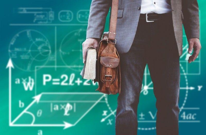 Школа, учитель, студент, преподаватель, доска, формулы