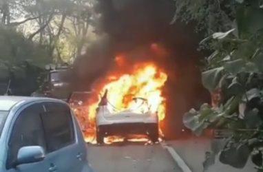 Во Владивостоке во дворе дома средь бела дня полыхает машина— очевидцы