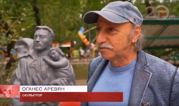 Скульптор Оганес Аревян. Фото - скриншот  с видео Телемикса