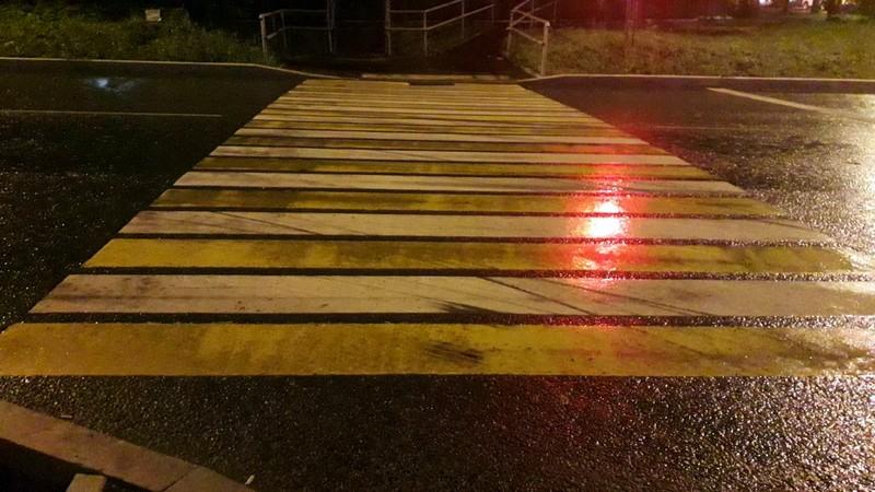 Дождь, ночь, вечер, дорога, светофор, переход